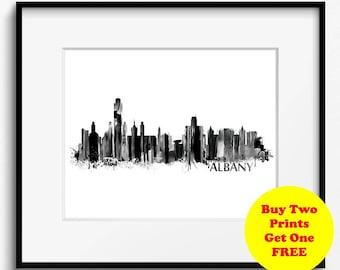 Albany Skyline Watercolor Black and White Art Print (711) Cityscape New York USA