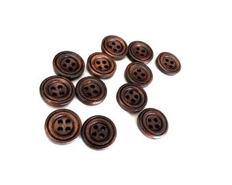 Small button - Brown 4 Holes Wooden Shirt Buttons 13mm - set of 12
