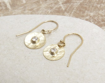 Disc Earrings/Round Charm earrings/Gold disc Earrings/Cubic Zirconia Disc Earrings/Hammered Disc Earrings/Threader Disc Earring