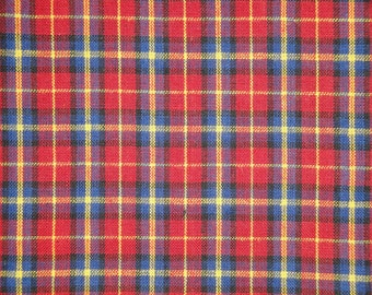 Homespun Material | Cotton Material | Quilt Material | Craft Material | Home Decor Material | Medium Plaid Material Red Royal Yellow Black