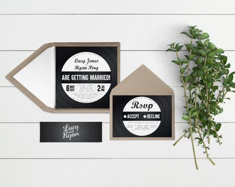 Vinyl Record // Wedding Invitation Suites and Bundles // Sample Only // Printed Copies or Print Yourself // Design Code #6000