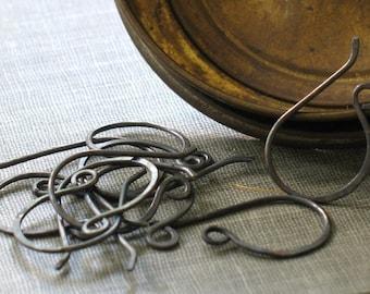 bulk order- oxidized copper ear wires- handmade ear hooks, oxidized ear wires, oxidized patina, earring hooks, ear wires, forged ear wires