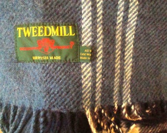 Vintage Wool Shawl, Lap Blanket, Made in Great Britain