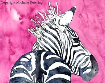 Zebra Art - Pink Zebra, Watercolor Print, Zebra Watercolor, Zebra Decor, Animal Watercolor Illustration, Zebra Girls Art, Whimsical Zebra