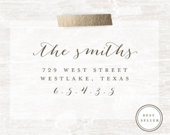 Address Stamp, Custom Address Stamp, Rubber Stamp, Calligraphy Stamp, Personalized Gift, Custom Address Rubber Stamp, Housewarming Gift