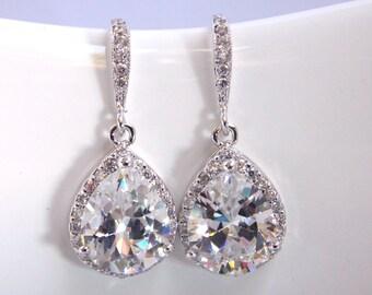 Wedding Jewelry, Bridal Earrings, Cubic Zirconia, Glass, Crystal Earrings, Silver, Bridesmaid Earrings, Bride Earrings, Bridesmaid Gift