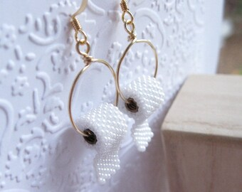 Beaded Toilet Paper earrings on sterling , brass or 14k gold filled materials