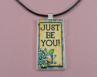 """NECKLACE or KEYCHAIN Just Be You Domino Pendant Key Fob Gift for Her Matching Choker 18""""  Key Ring Bee Theme Cute"""