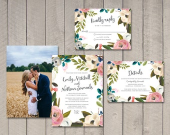 Painted Floral Wedding Invitation, Response, Details Card (Printable) by Vintage Sweet