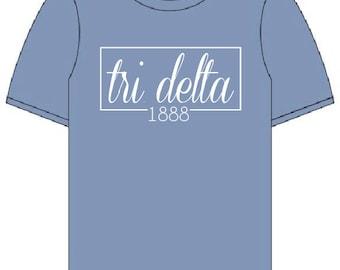 Delta Delta Delta // Tri Delta // Sorority Comfort Color Short Sleeve (Coneria) Tshirt // Choose Your Color
