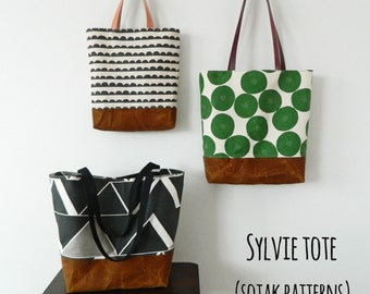 Sylvie Tote, pdf bag pattern, pdf pattern, tote bag, instant download, three sizes, easy to sew, sewing, chic, patterns, sew, bag
