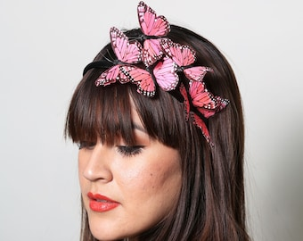 Bright Pink Butterfly Headband - woodland, fairy tale