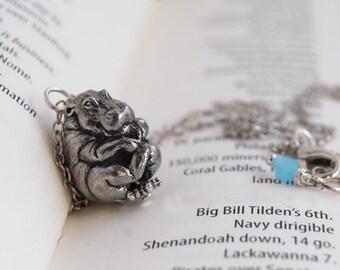 Bashful Hippo Necklace | Hippopotamus Necklace | Pewter Hippo Charm Necklace