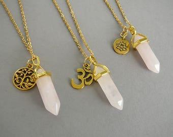 Rose Quartz Necklace Rose Quartz gold pendant Lotus Necklace Healing Crystal Necklace Yoga gift Necklace Om Necklaces Tree of life necklace