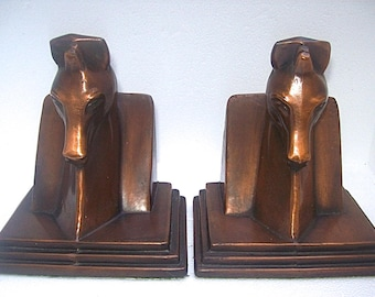 Vintage ART DECO Stylized Horse Heads Copper Patinated Metal BOOKENDS