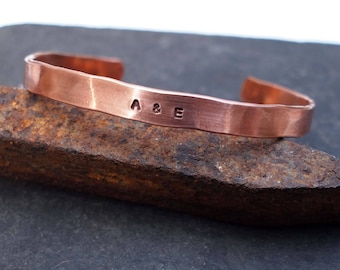 Men's Copper Cuff, Copper Cuff with Initials,, 7th Anniversary Gift, Copper Anniversary, Men's Copper Bracelet, 22nd Anniversary