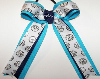 Bulk Price, Volleyball Bow, Blue Sparkly Volleyball Ponytail Holder Ribbons Ties, Volleyball Turquoise Navy Blue Team Spirit Wholesale Bow