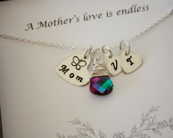 Mothers Personalized Necklace, Birthstone Charm, Heart Shape, Sterling Silver, 2 Initial Charm, Mother's Day Card, Monogram