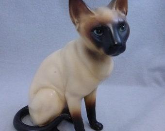 Rescued Vintage Mid Century Lefton Seal Point Siamese Cat Figurine  H4039