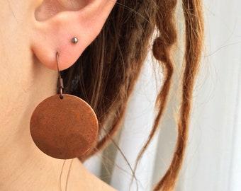 Copper Disc Earrings