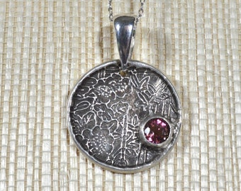 Asian Medallion Pendant with Genuine Pink Tourmaline Gemstone, Handmade PMC Fine Silver Necklace