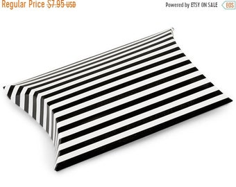 Mothers Day Sale 12 Pack Black and White Stripe Paper Pillow Boxes 3 X 3.5 X 1 Inch Size Great Packaging for Gifts, Party Favors, and More