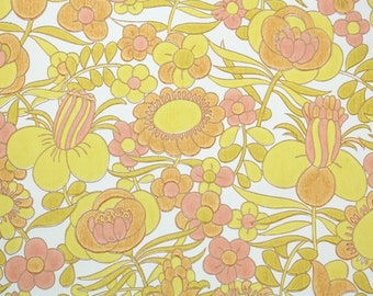 Retro Wallpaper by the Yard 60s Vintage Wallpaper - 1960s Peach Orange and Yellow Floral on White