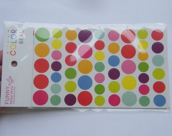 6 Sheets circle  stickers multicolour