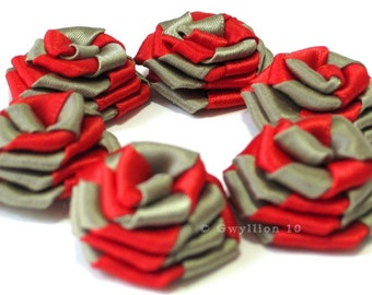 Two-Toned Red and Olive Satin Rose Drops - (6)
