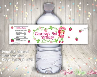 Custom Strawberry Shortcake Birthday Party Water Bottle Labels - Water Resistant