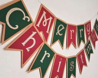 Merry Christmas Banner | Holiday Banner | Maroon & Emerald Christmas Banner | Champagne Sparkle Christmas Banner