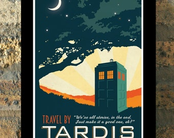 TARDIS Doctor Who Travel Poster Vintage imprimer Geekery Wall Art House chauffage nouvel appartement