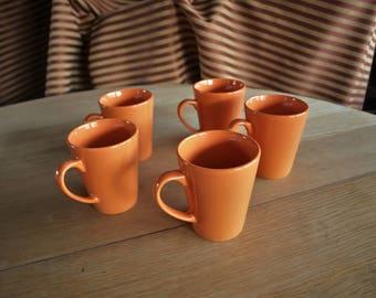 5 Orange Coffee Mugs