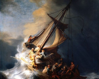 Christ in the Storm on the Lake of Galilee Rembrandt Painting, Poster, Fine Art Reproduction Print A4