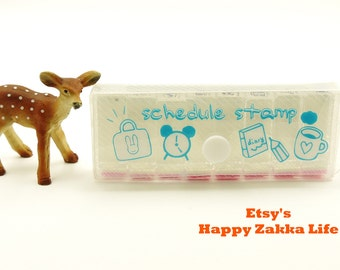 Mini Diary Schedule Stamp Set - Travel -  8 Pcs