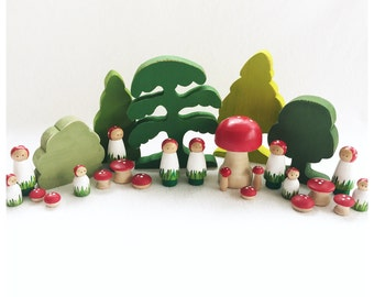 Mushroom People Peg Doll - wood peg dolls - woodland pretend play - storytelling fairytale fairy storybook - gnome - imagination toy fungi