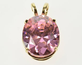 14k Oval Pink Cubic Zirconia Solitaire Pendant Gold