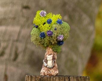 Fairy Garden Tree, Miniature Fairy Garden Tree with Weasel