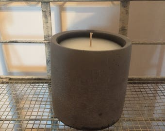Dark Grey Stone Effect Candle,Scented in Bergamot Orange & Sandalwood