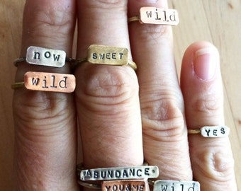MATURE handforged Bronze, copper and sterling silver mixed metal stacking poetry rings. Zero f*cks.