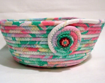 Baby Shower Pink and Blue Coiled Fabric Bowl