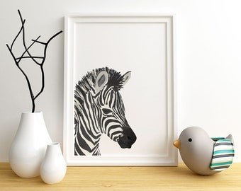 Baby Zebra Art Print, Zebra, foal, Safari Nursery, Kids Wall Decor, Zebra Wall Art, Animal Art, Watercolour, Gender Neutral, baby