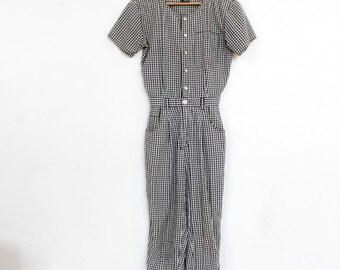 80s Black & White Gingham Jumpsuit / Pantsuit / Jumper