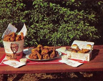 Vintage Kentucky Fried Chicken advertising postcard--  Metamora, Indiana    postmarked 1965 (chrome)