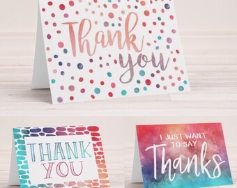 Unique Thank You Notes - Set of 12 Cards with Envelopes - Watercolor Thank You Cards - Blank Inside - Folding Note Cards - Mentor Gift