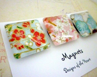 Square Glass Magnet Set - Floral Japanese Paper Collection