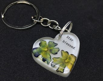 Keychain power line and real dried flowers