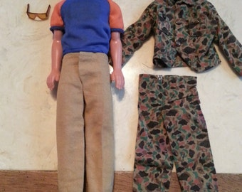 Vintage Mattel Ken Doll 1980s Blonde Hair Sunglasses Loafers Army Fatigues Accessories 1983