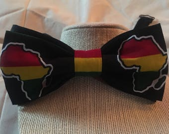"""Africa bow tie, black history month bow tie, Red, black and green bow tie, pre-tied with 18"""" adjustable strap"""