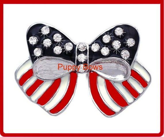 Puppy Bows ~ CLEARANCE SALE 50% OFF rhinestone  4th of July American flag  pet hair clip red white blue ~